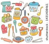 set of kawaii kitchen equipment ... | Shutterstock . vector #1431408461
