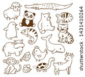 set of animals doodle isolated... | Shutterstock . vector #1431410264