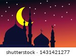 silhouette mosque background at ... | Shutterstock .eps vector #1431421277