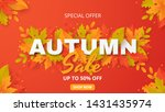autumn background with leaves.... | Shutterstock .eps vector #1431435974