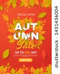 autumn sale background with... | Shutterstock .eps vector #1431436004