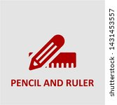 filled pencil and ruler icon.... | Shutterstock .eps vector #1431453557