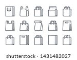 shopping bag related line icon...