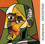Cubism Art Style Frowning Man...
