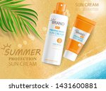 sun cream bottle realistic... | Shutterstock .eps vector #1431600881