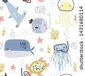 seamless pattern with cute... | Shutterstock .eps vector #1431680114