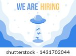 ufo attracts people with we are ...   Shutterstock .eps vector #1431702044