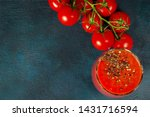 glass cup with tomato juice... | Shutterstock . vector #1431716594