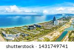 Beautiful Coastal Scenery of Haitang Bay in Sanya, Hainan, with Luxury Hotels and Resorts Situated along the Beach, the Only Tropical Tourism Destination in China.