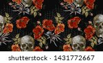 embroidery skull and red roses  ... | Shutterstock .eps vector #1431772667