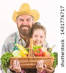 My father is farmer. Gardening and harvesting. Family farm organic vegetables. Man bearded rustic farmer with kid. Farmer family homegrown harvest. Father and daughter hold basket harvest vegetables.