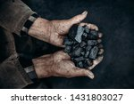 Miner Holds Coal Palm. Concept...