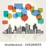 city speech bubbles | Shutterstock .eps vector #143184055