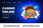 Stock vector casino slot machine landing page template gambling casino landing page gambling roulette 1431855164