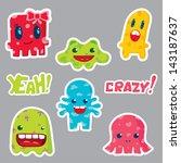 cute monsters sticker design....   Shutterstock .eps vector #143187637