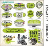jazz music stamps and labels | Shutterstock .eps vector #143194015