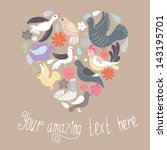 cute heart made of birds and... | Shutterstock .eps vector #143195701