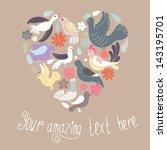 cute heart made of birds and... | Shutterstock .eps vector #143195701