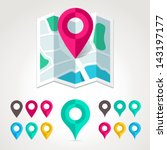 map markers and flat map icon. | Shutterstock .eps vector #143197177