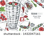 doner kebab and ingredients for ... | Shutterstock .eps vector #1432047161