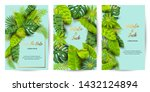 wedding invitation set with... | Shutterstock .eps vector #1432124894