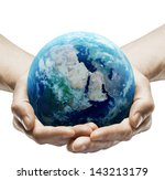 Hands Holding Earth On White...