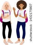 two happy girls students ... | Shutterstock .eps vector #1432175807