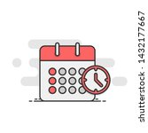 calendar icon with clock.... | Shutterstock .eps vector #1432177667