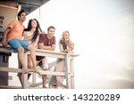 young group of friends at the...   Shutterstock . vector #143220289