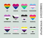 hearts with lgbt flags. gay... | Shutterstock .eps vector #1432208831