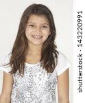 Head Shot of American Indian Girl Smiling - stock photo