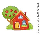 small house stands next to an... | Shutterstock .eps vector #1432242461