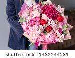 Pink Peonies And Red Hydrangea...