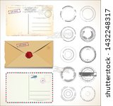 set of postal stamps and post... | Shutterstock . vector #1432248317