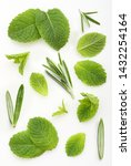 green mint and rosemary leaves... | Shutterstock . vector #1432254164