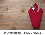 knife and fork in napkin at... | Shutterstock . vector #1432270271