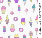 sweets. ice cream  donuts ... | Shutterstock .eps vector #1432270487
