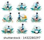 black man doing different... | Shutterstock .eps vector #1432280297