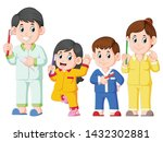 the happy family are posing... | Shutterstock .eps vector #1432302881