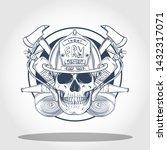 hand drawn sketch  fireman... | Shutterstock .eps vector #1432317071