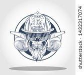hand drawn sketch  fireman... | Shutterstock .eps vector #1432317074