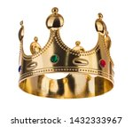 Small photo of Gold Crown with jewel isolated isolated on white background