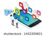 modern isometric social media... | Shutterstock .eps vector #1432350821