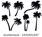 black silhouettes set of palm... | Shutterstock .eps vector #1432401347