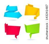 set 4 origami banners | Shutterstock .eps vector #143241487