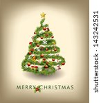 christmas tree vector image | Shutterstock .eps vector #143242531