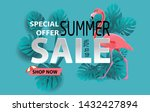 summer sale banner with... | Shutterstock .eps vector #1432427894