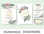 wedding floral invitation card... | Shutterstock .eps vector #1432445381