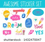 awesome and cool  colorful hand ... | Shutterstock .eps vector #1432470047