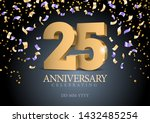 anniversary 25. gold 3d numbers.... | Shutterstock .eps vector #1432485254